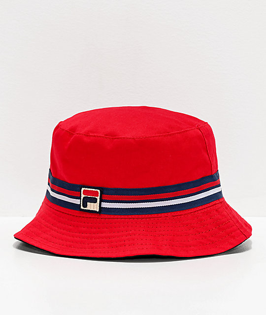 red bucket hat